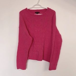 American Eagle Cable Knit Pink Sweater